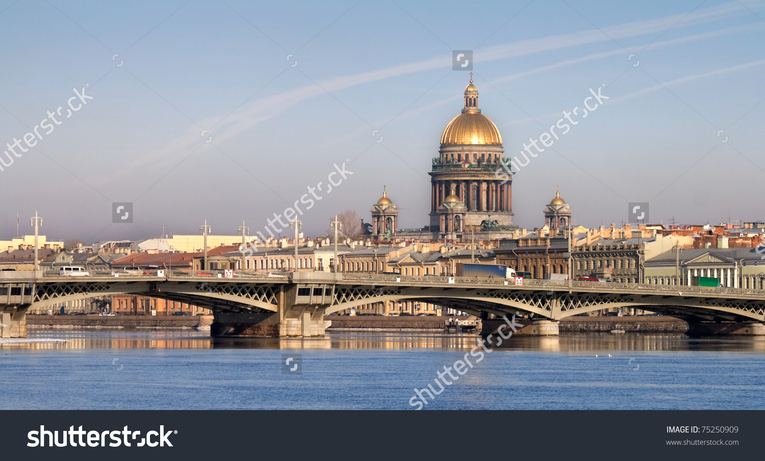 Classical View Neva River Isaakievsky Cathedral Stock Photo.