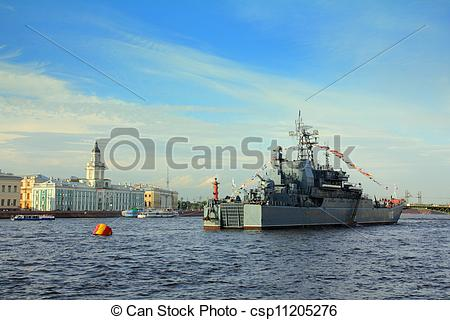 Picture of military ship on Neva River.