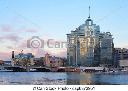 Stock Photography of Sampsonievsky bridge and Modern building on.