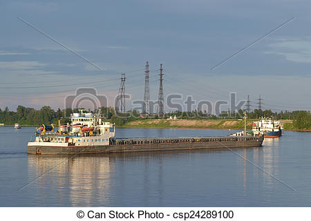 Stock Photography of Cargo ship on the Neva river..