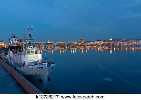 Picture of Evening view from the Neva river to St. Isaac's.