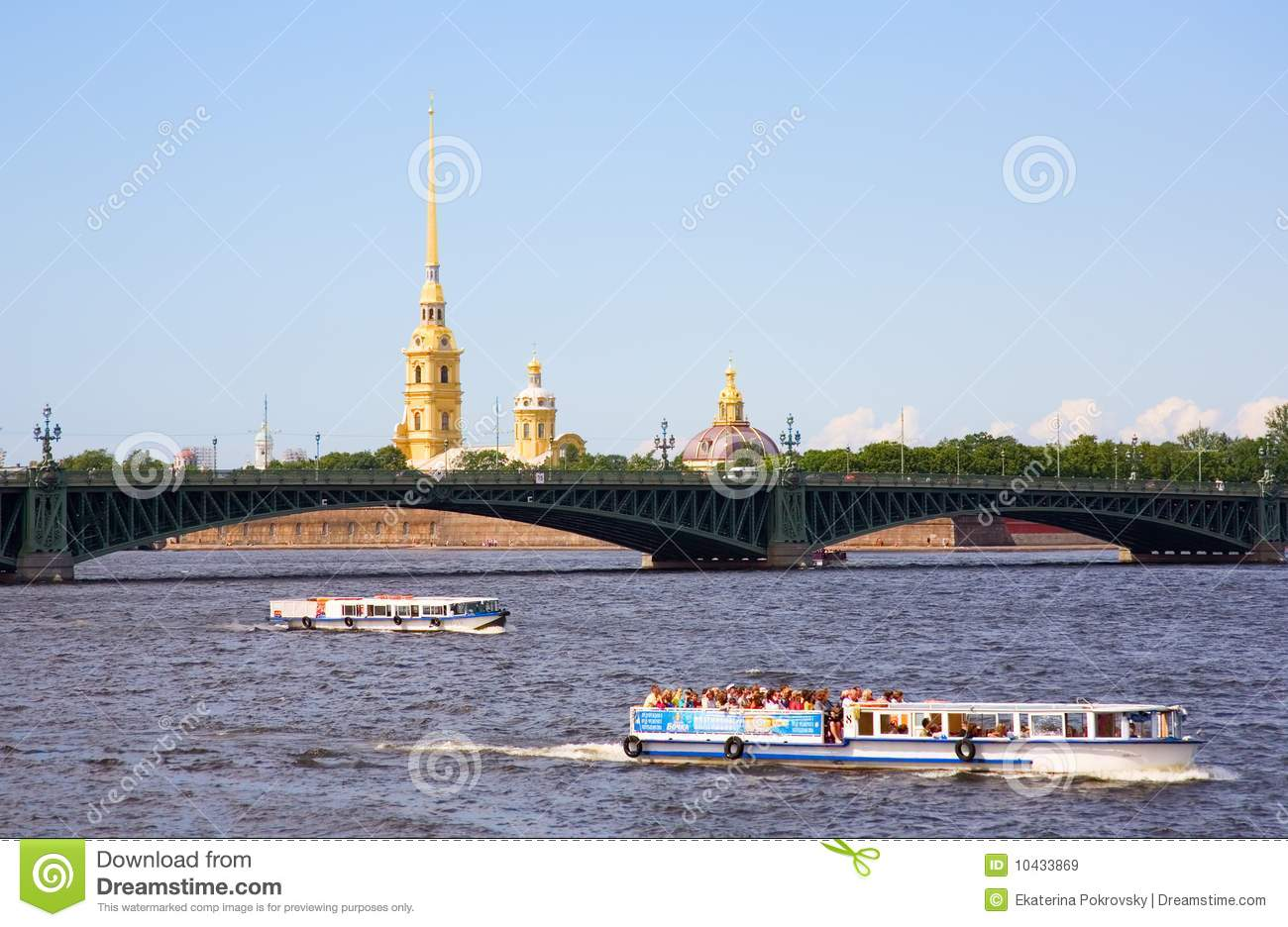 Boat Excursions On The Neva River In St.Petersburg Royalty Free.