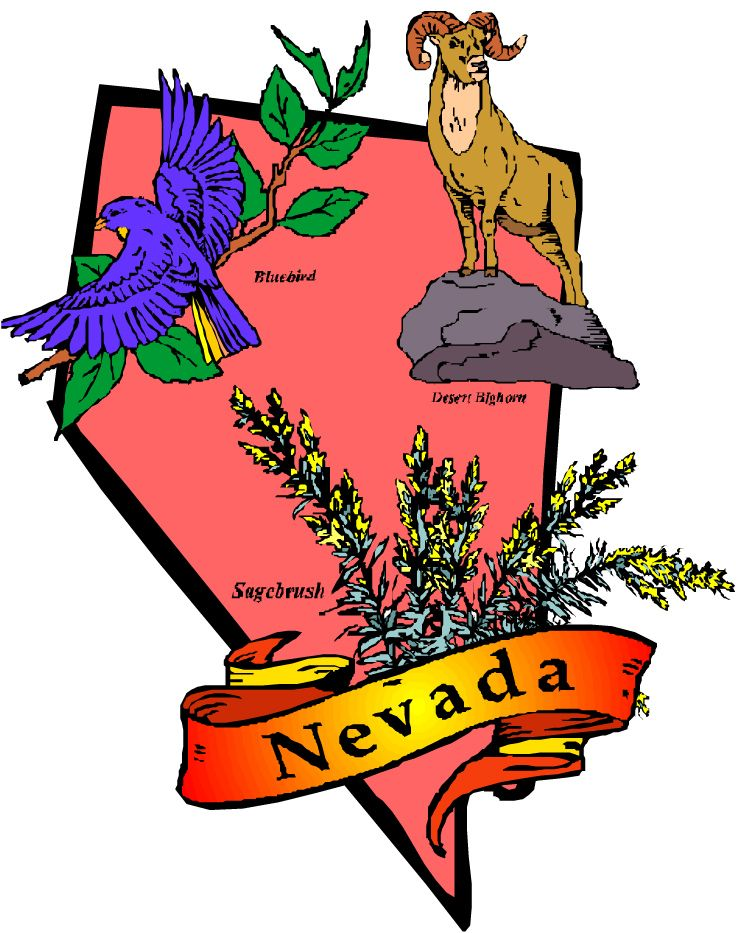 Clipart picture of state of Nevada showing state symbols of.