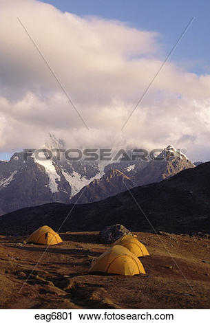 Stock Photography of CAMP #6 near the village of Pacchanta with.
