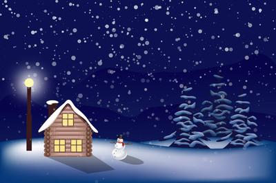 Paisaje nevado de Navidad, gráfico de vector.