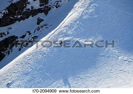 Stock Photograph of Skier Andes in Valle Nevado Chile t70.