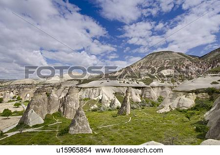 Stock Photo of Hoodoos in unique landscape near Goreme, Cappadocia.