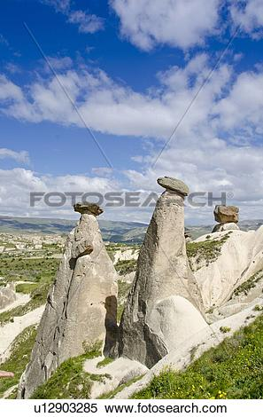 Stock Image of Hoodoos in unique landscape near Goreme, Cappadocia.