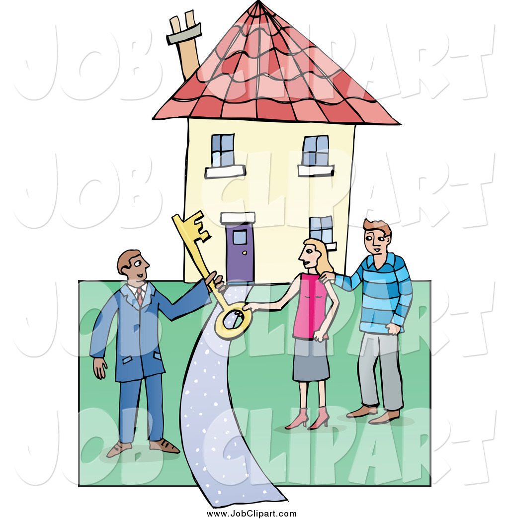 Job Clip Art of a Realtor Handing a Large Skeleton Key to a Couple.