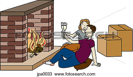 Drawing of A couple having a toast in front of their fireplace in.