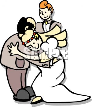 Royalty Free Clip Art Image: Man With His Daughter and New Son.
