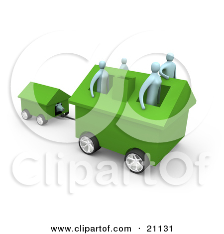 Clipart Illustration of a Family Of Four Inside Their Green Home.
