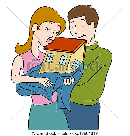 Vector Clip Art of New Homeowners.