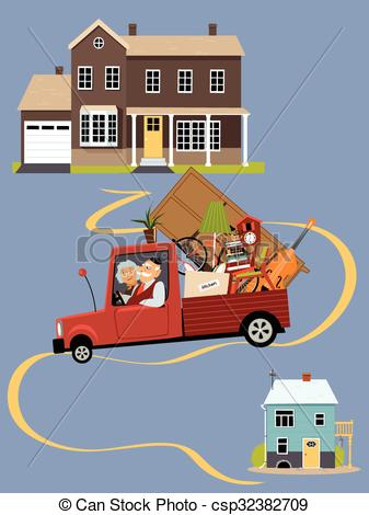 Vector Clipart of Seniors moving to a new home.