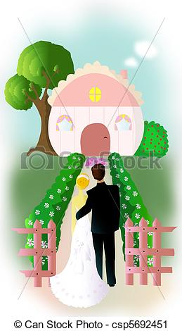 Clipart of Two couples starting their new life csp5692451.