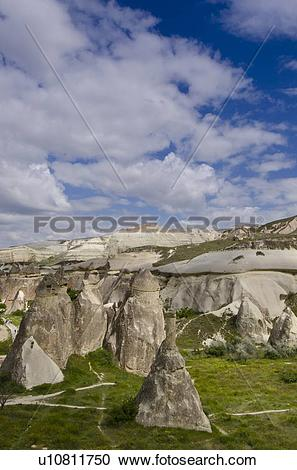 Stock Photography of Hoodoos in unique landscape near Goreme.