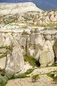 Stock Image of Hoodoos in unique landscape near Goreme, Cappadocia.