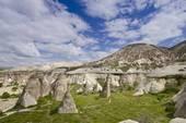 Stock Photo of Hoodoos in unique landscape near Goreme, Cappadocia.