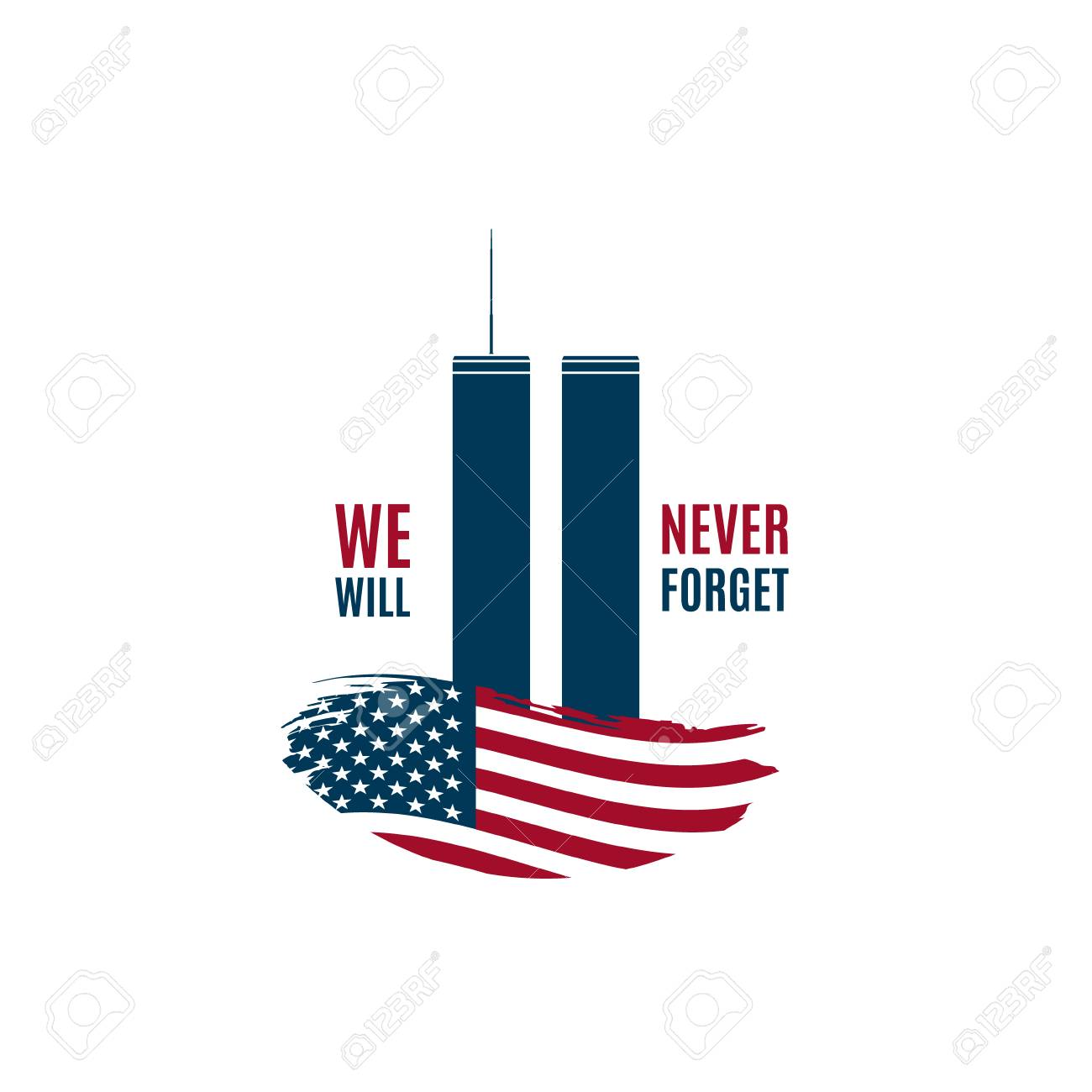 9/11 Patriot Day card with Twin Towers on american flag and phrase...