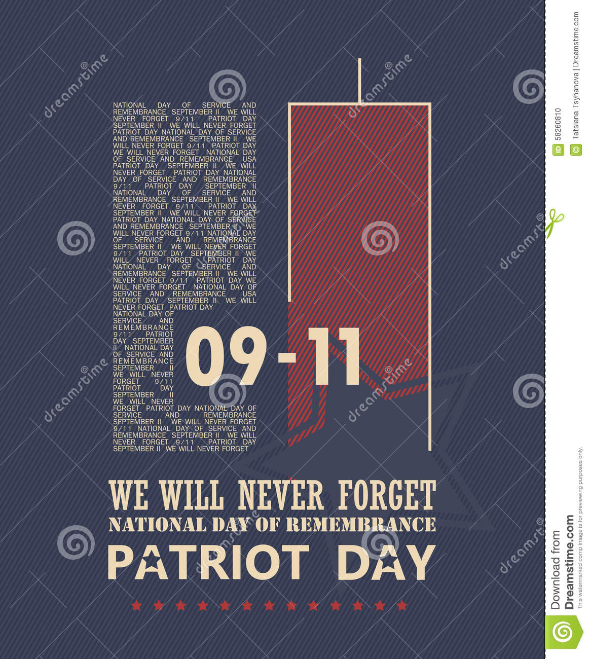 9/11 Patriot Day, Never Forget. Stock Vector.