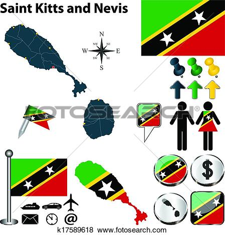 Clip Art of Map of Saint Kitts and Nevis k17589618.