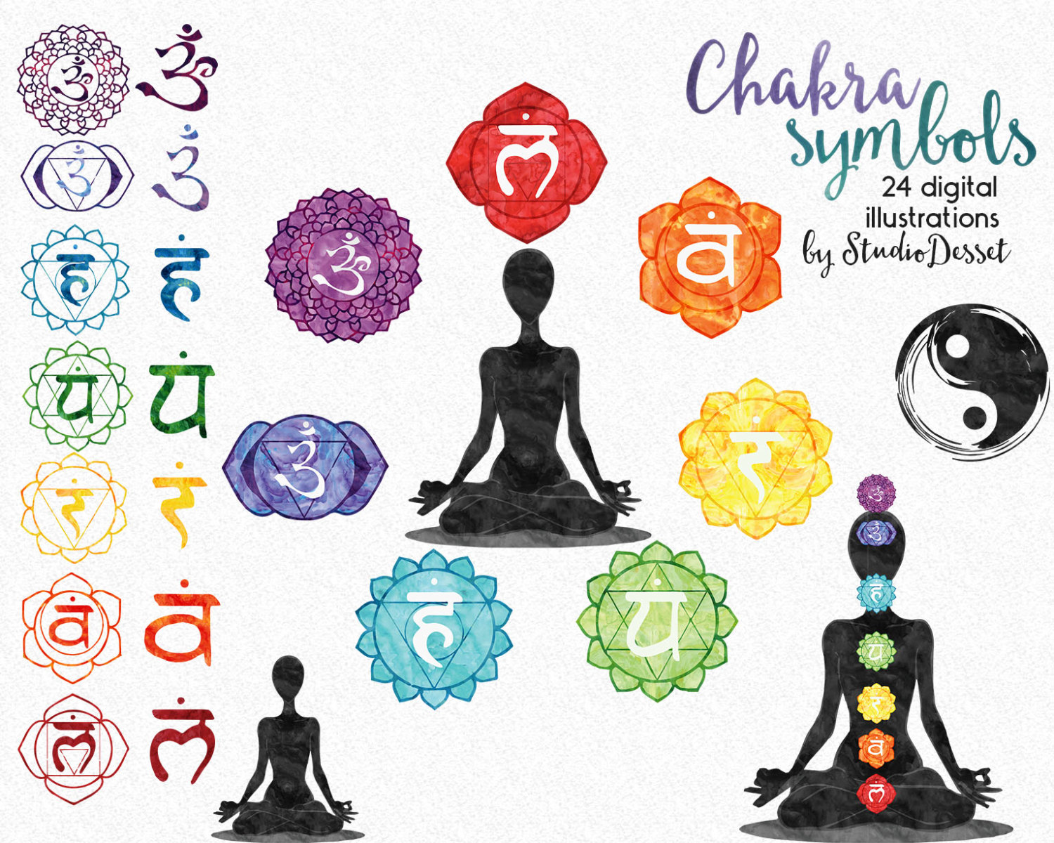 Watercolor Chakras Clipart New Age Illustrations Rainbow.