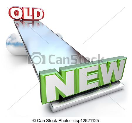 Clip Art of Old Versus New Balance on See.