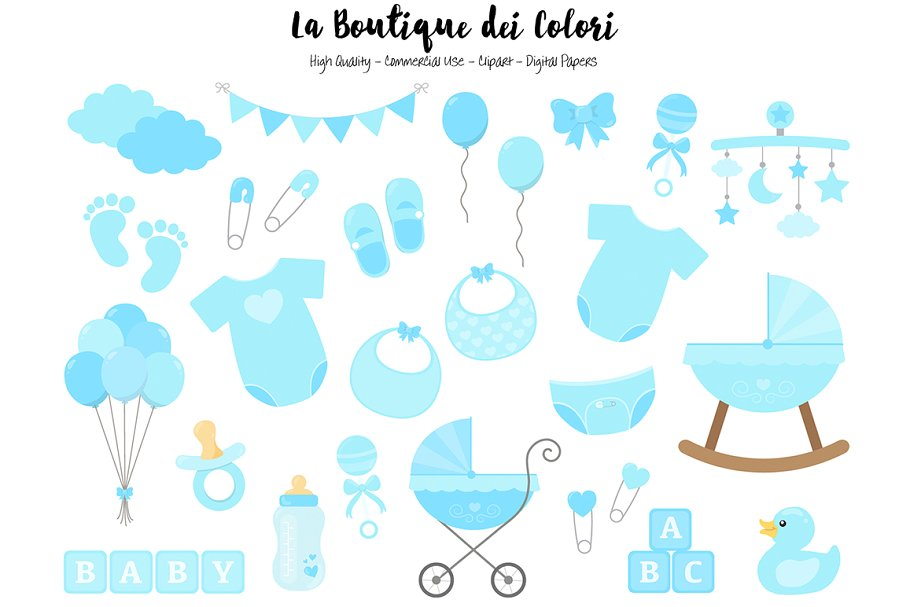 Blue New Baby Boy Clipart.