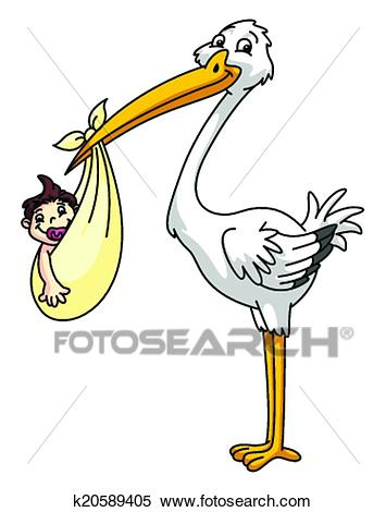Stork with new born baby Clipart.