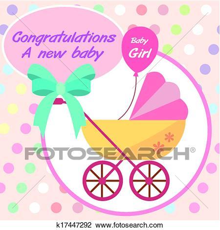 Vector card new born baby girl. Clipart.