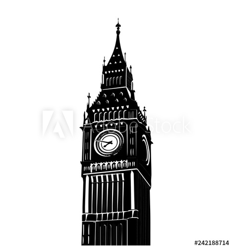 Vector illustration of famous Big Ben tower in London.