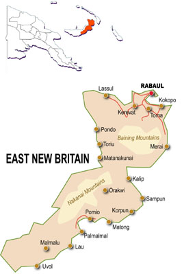 East New Britain Papua New Guinea Map.