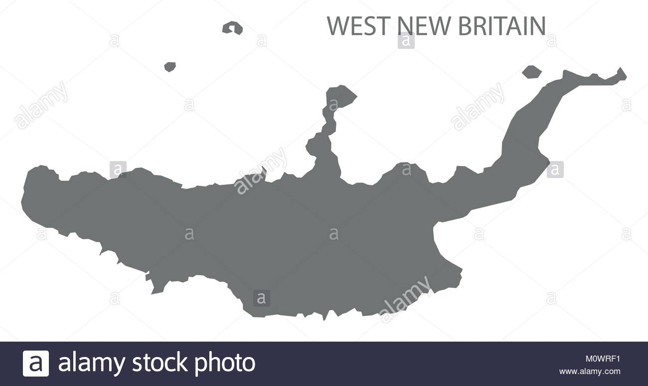 West New Britain map of Papua New Guinea grey illustration.