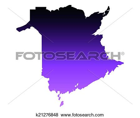 Clip Art of Map of New Brunswick k21276848.
