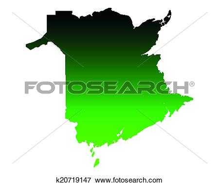 Clip Art of Map of New Brunswick k20719147.