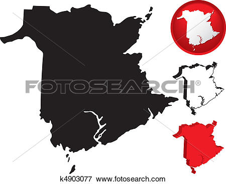 Clip Art of Detailed Map of New Brunswick, Canada k4903077.
