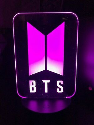 BTS NEW LOGO, army KPOP 3D color changing LED night light.