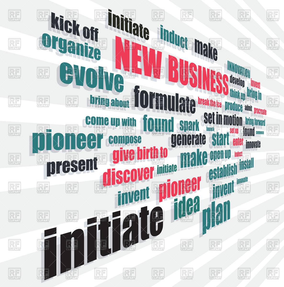 New business words in perspective forward background Stock Vector Image.