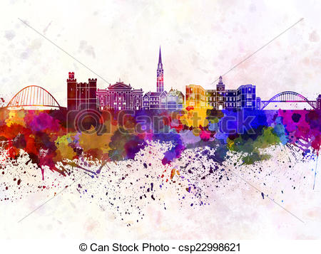 Clip Art of Newcastle skyline in watercolor background csp22998621.