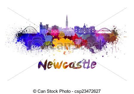 Clip Art of Newcastle skyline in watercolor splatters csp23472627.