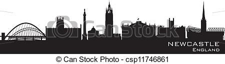 Clip Art Vector of Newcastle, England skyline. Detailed vector.