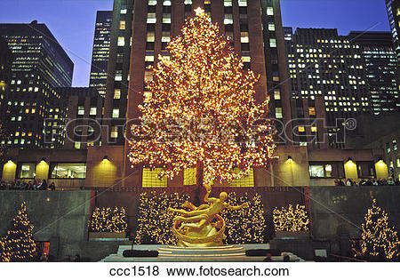 Pictures of USA New York NYC Rockefeller Center with Christmas.