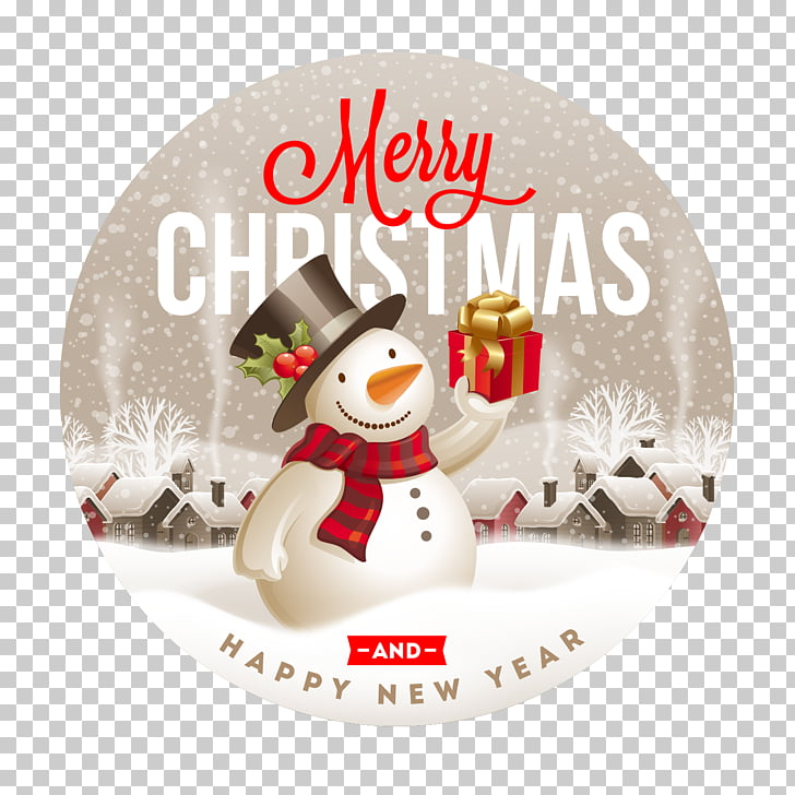 New Year Christmas Label Santa Claus, Cute Christmas Snowman.