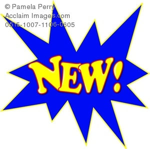 Clip Art Image of the Word NEW! in a Starburst.