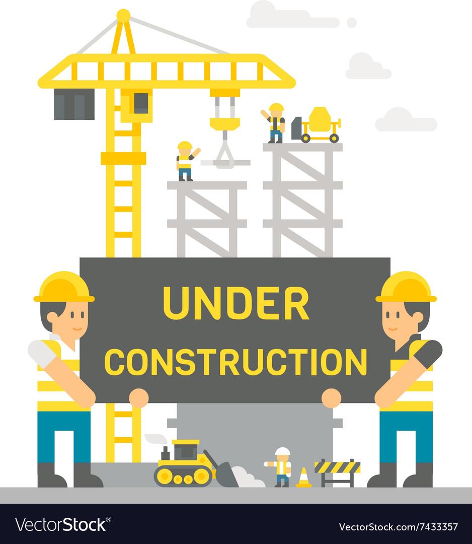 Flat design construction site sign.