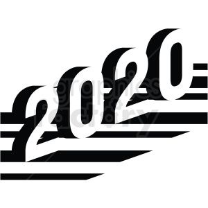 2020 new year clipart design black and white . Royalty.