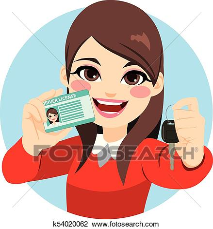 Woman Driver License And Car Keys Clipart.