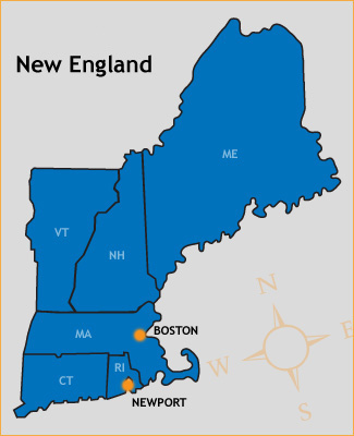 Map of new england and colonies clipart.