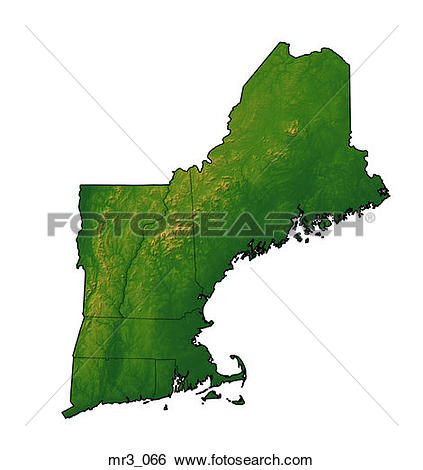 Stock Images of map, new england, northeast, relief, terrain.
