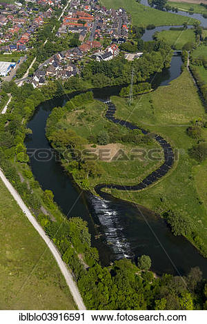 "Stock Photography of ""Aerial view, fish ladder Lippe weir, Werne."